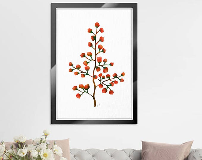 Watercolor Painting Abstract Flowers, Flower Art Print, Watercolor Flower Orange Brown Wall Decor Floral Illustration Minimalist Modern Home