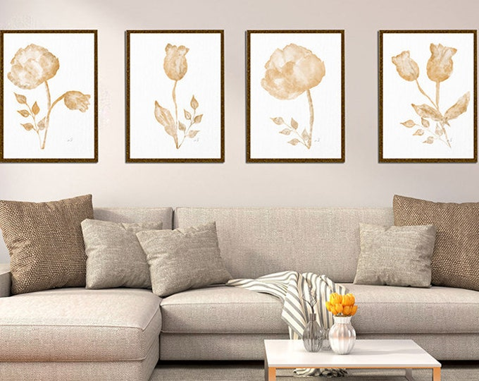 Watercolor flower Art print Bedroom décor Pastel painting Set of prints, Cottage Chic Wall Art Print Abstract Brown art Beige Home Decor
