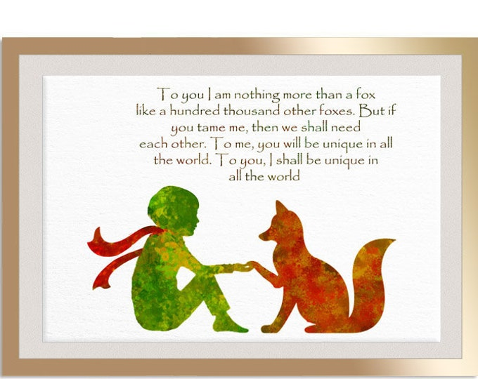 The Little Prince Nursery Prints Original  Art Deco Watercolor Print Le Petit Prince One of a Kind Quote Prints Paintings House Décor Print