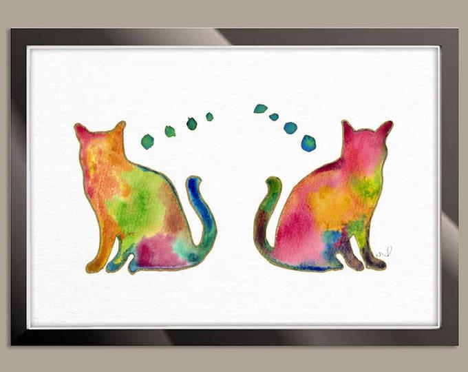 Cat Watercolor Print, Cat Painting, Watercolor Cat, Print of Animal, Rainbow Cat, Pet Painting, Cat Lover Gift, Wall Decor, Colorful Art