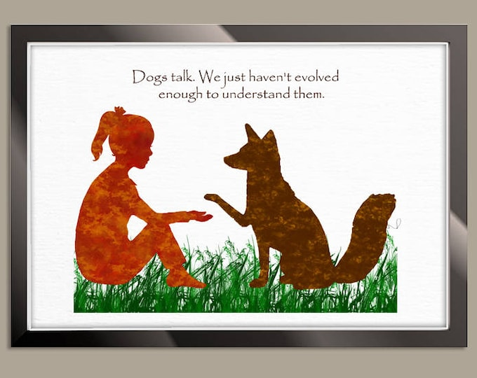 Dog Quote Art Print, Girl Room Decorations, Personalized Quote, Animal Poster, Dog Lover Gift, Watercolor Print, Pet Love, Birthday Gift