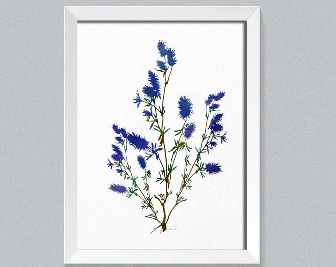 Abstract Painting, Blue Wall Art, Botanical Illustration Home Art, Botanical Watercolor, Blue flower Print, Nature Plant Poster, Gift Idea