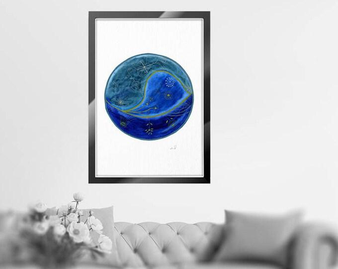 Watercolor Moon Print, Full Moon Print, Moon Art Print, Watercolor Moon Poster, Celestial Print, Black and White, Wall Art, Celestial Poster