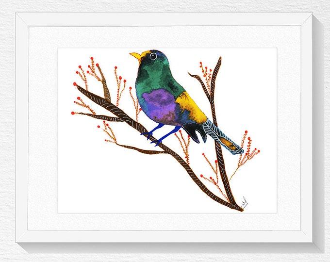 Bird On Branch Art, Bird Artwork, Home Decor, Bird Painting, Bird Wall Art, Bird Poster
