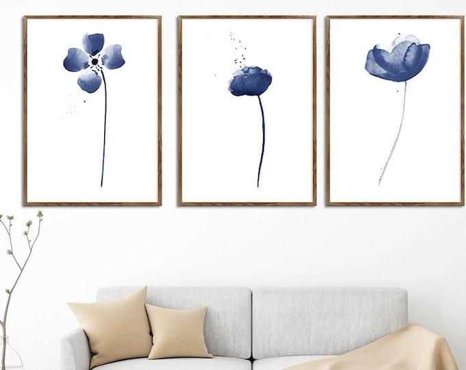 Flower Print, Set Of 3, Navy Blue, Wall Art, Watercolor Painting, Home Décor, Floral Décor