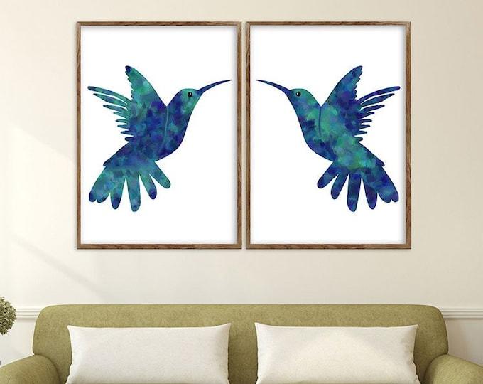Hummingbird Art, Set of 2 Birds, Blue Wall Art, Watercolor Painting, Bird Art, Flying Birds, Large Wall Art, Bird Decor, Large Canvas Art
