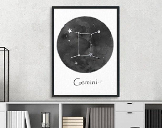 Gemini Personalized, Black White Wall Art, Zodiac Sign Print, Art Print, Birth Month, Astrology Print, Zodiac Art, Horoscope Celestial Art