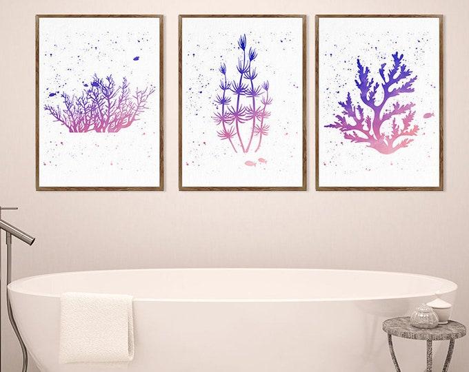 Set Of 3 Sea Coral, Navy Coral Decor, Nautical Art Print, Bathroom Decor, Botanical Wall Art, Sea Life Art, Beach House Decor, Giclee Print