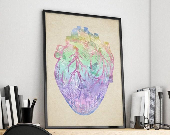 Heart Wall Art, Heart Anatomy Print, Heart Anatomical Poster, Surgery Art, Cardiology Gift, Medical Student Gift, Clinic Décor