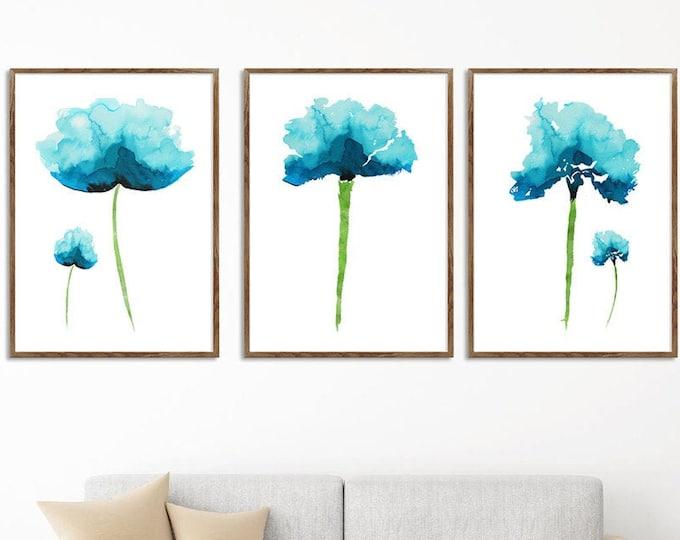Set Of 3 Art Prints, Teal Décor, Abstract Flower, Botanical Print, Flower Painting, Wall Art, Floral Room Décor, Minimalist Art