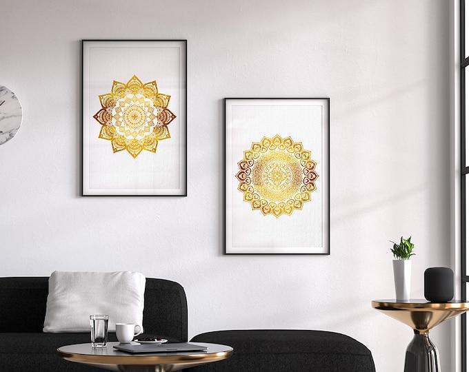 Mandala Wall Art, Set of 2 prints, Hindu Wall Decor, Golden Mandala, Watercolor Art, Bedroom Wall Art, New Age, Archival Print, Buddhist Art