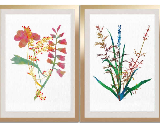 Watercolor Flower, Floral Print, Flower Art Print, 2 pieces Set Prints, Pastel Wall Decor, Flower Art, Bright Color Print, Dining Room Art