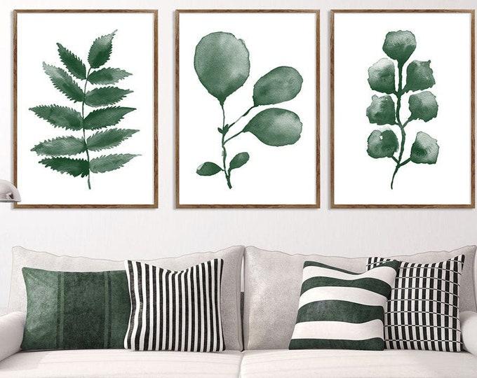 Eucalyptus Set Of 3, Eucalyptus Prints, Gallery Wall Set, Living Room Wall Art, Wall Art, Eucalyptus Painting