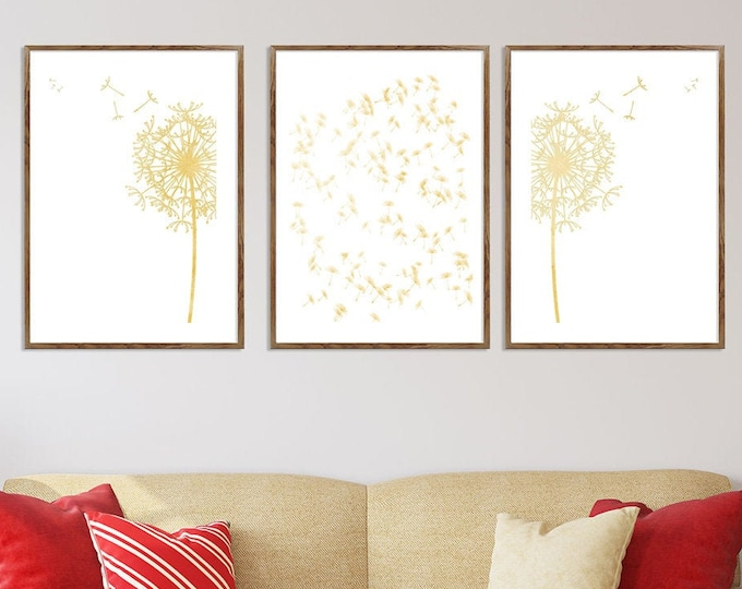 Dandelion Art Print, Flower Print, Dandelion Art, Set Of 3, Wall Art, Bedroom Wall Décor, Floral Print