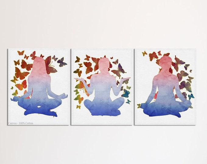Yoga Wall Decor, Namaste, Meditation, Yoga Wall Art, Set Of 3 Prints, Gift For Her, Yoga Poster