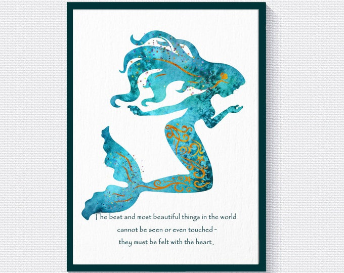 Mermaid Wall Art, Quote Prints, Mermaid Décor, Mermaid Quote Décor, Girls Room Décor, Nursery Wall Decoration