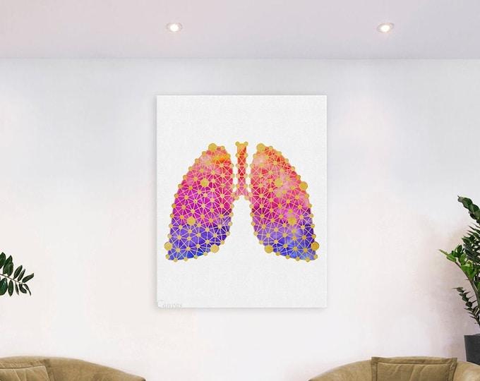 Lungs Art Print, Lung Watercolor, Pulmonary Art, Anatomy Art, Anatomical Lungs