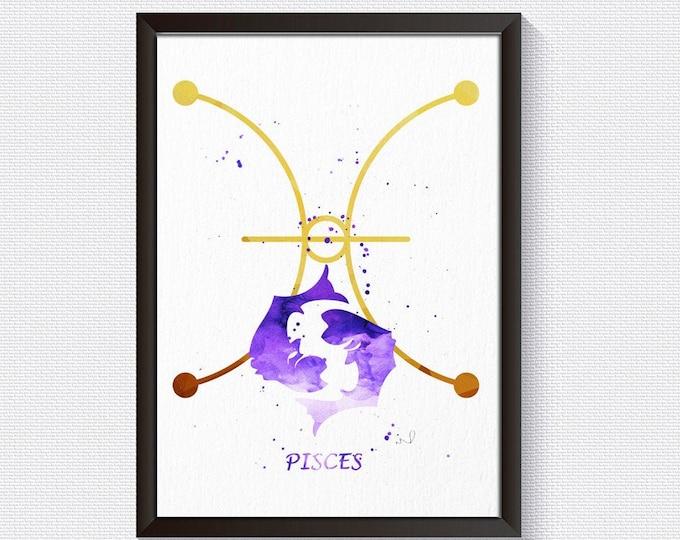 Pisces Print, Zodiac Poster, Wall Art, Pisces Constellation, Bedroom Décor, Star Sign Art Print, Canvas Wall Art, Horoscope Home Décor