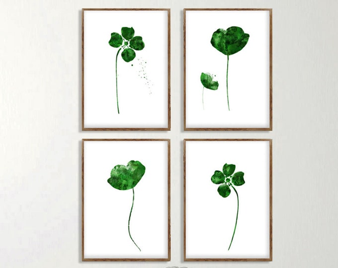 Abstract Flower, Green Floral Décor, Watercolor Painting, Art Print, Set of 4, Minimalist Painting, Botanical Floral Print