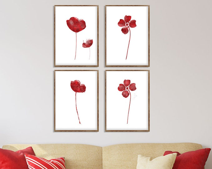 Red Wall Art Set of 4, Abstract Flowers, Poppies Watercolor, Flower Print, Canvas Art Print, Red Poppy Art, Floral Home Decor, Red Flowers