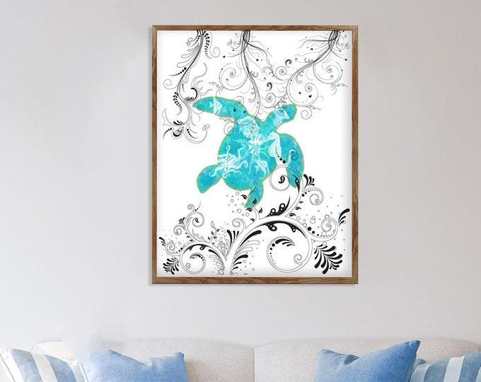 Blue Sea Turtle, Watercolor Crab, Beach Art Print, Beach House Décor, Sea Turtle Gift, Beach Lover Gift, Turtle Print