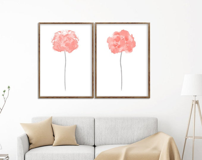 Abstract Flower, Set of 2, Living Room Decor, Blush Pink Art, Painting, Flower Art Print, Floral Poster, Home Gallery, Minimalist Floral Art