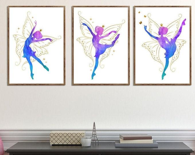 Ballerina Wall Art, Watercolor Ballet Dancer, Dancer Wall Décor, Pink Nursery Décor, Wall Art, Print Set