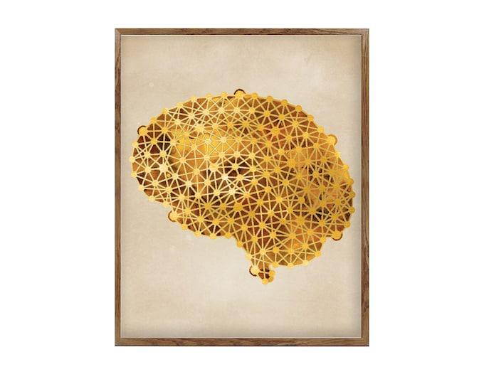 Human Brain Wall Art Print | Brain Anatomy | Watercolor Print | Medical Science Art | Anatomical Art | Wall Art Poster