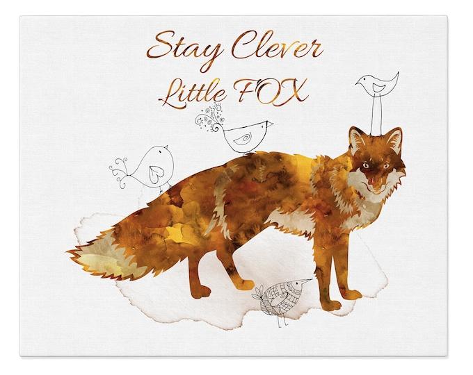 Fox Nursery Print, Stay Clever, Little Fox, Wall Art, Kids Room Décor, Fox Wall Art, Fox Poster, Woodland Wall Art, Forest Animals