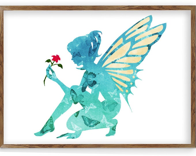 Fantasy Art Print, Fairy, Fairy tale, Watercolor Fairy Tale, Watercolor print, Nursery, Baby Girl Nursery, Watercolor Fairy