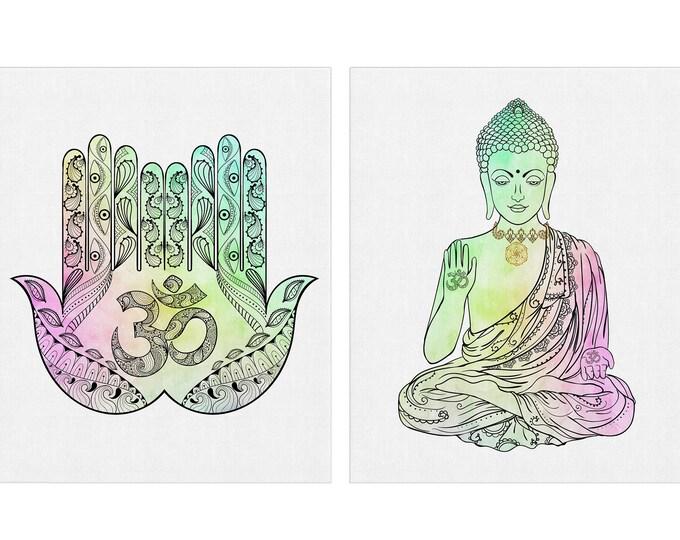 Meditation Art, Yoga Studio, Set of 2 Prints, Spiritual Wall Art, Wall Art, Bohemian Décor, Canvas Art, Buddhist Wall Décor