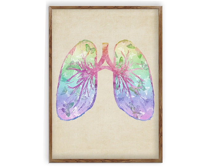 Lungs Art, Medical Art Print, Anatomy Vintage Art, Respiratory System, Doctor Gifts Idea, Clinic Décor