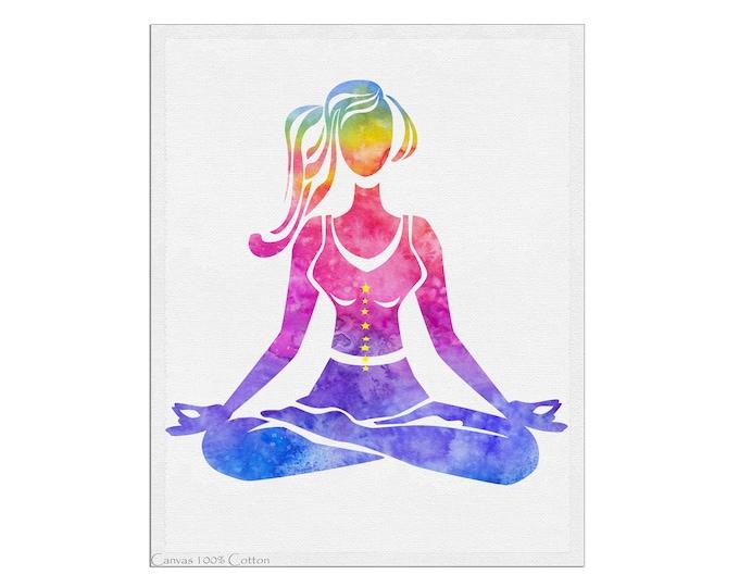 Yoga Print, Yoga Art, Lotus Pose, Yoga Watercolor Art, Meditation Gift, Yoga Studio Décor, Gift Yoga Lover