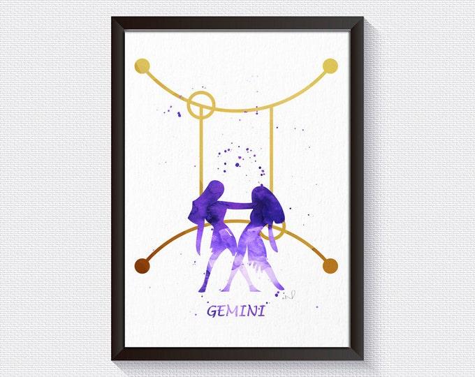 Star Sign Wall Art, Gemini Sign Print, Zodiac Wall Art,  Home Décor, Wall Art