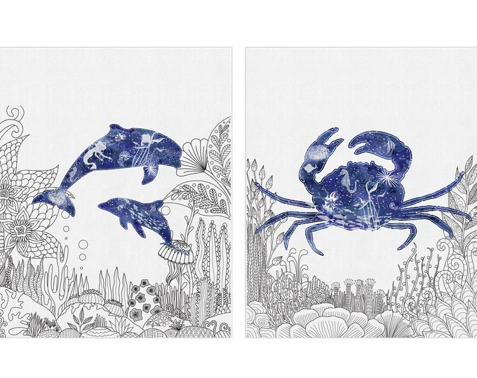 Blue Nautical Prints, Set of 2, Nautical Art, Coastal Décor, Beach Cottage Décor, Marine Life, Nautical Wall Art, Dolphin Art Print