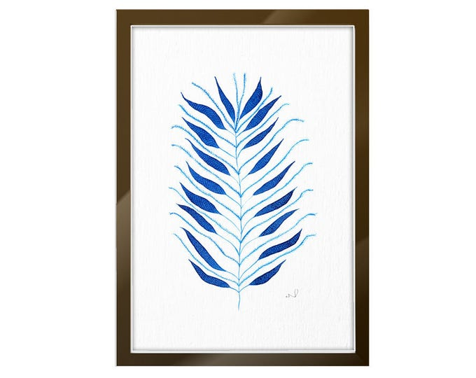Fern Art Print Indigo Home Decor, Botanical Abstract Illustration, Blue Floral Kitchen Poster Wall Decoration, Fern Leaf Watercolor Painting