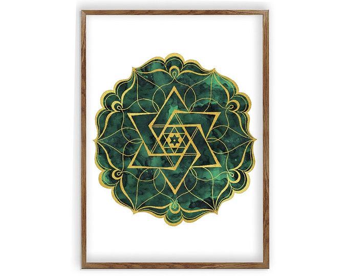 Mandala Art, Mandala Wall Art, 16x20,  Mandala Painting, Mandala Art Print, Sacred Geometry, Star Of David Poster, Mandala Ornament, Green