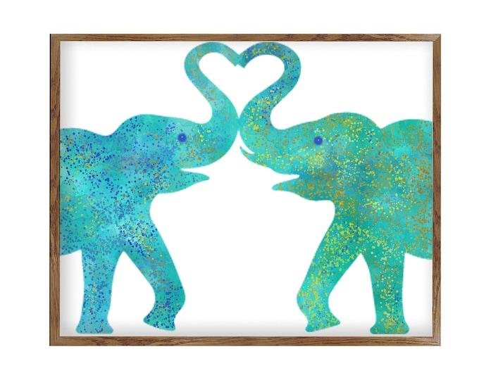 Watercolor Print, Heart Wedding Gift, Nursery Wall Art, Elephant Love Couple, Housewarming Gift, Wall Décor, Home Décor, Wall Hanging