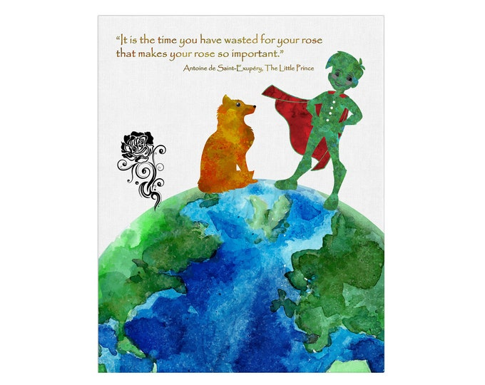 Little Prince Print, Literary Quote, Gift For Kids, Inspirational Quote, Little Prince Poster, Nursery, Kids Room Décor, Wall Art Canvas