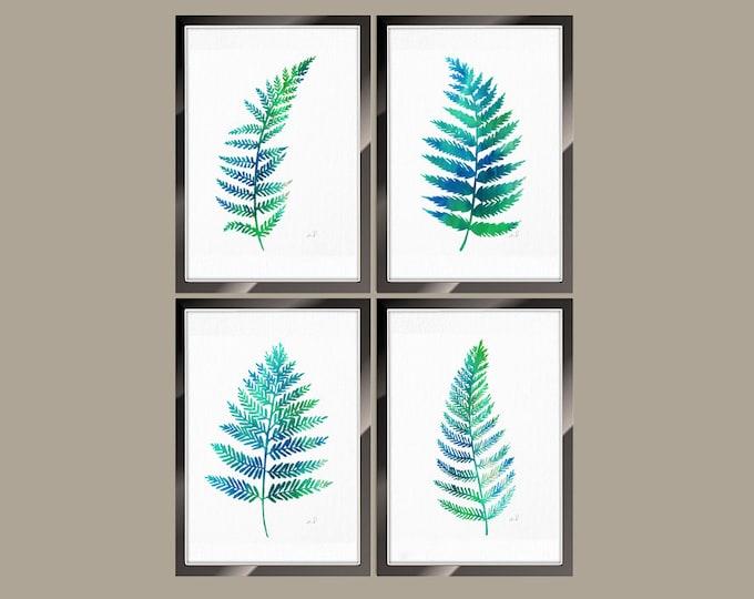 Ferns Set of 4 Watercolor Painting, Fern Print Green Botanical Artwork, Nature Wall Decor, Green Leaves, Fern Home Decor Floral Illustration