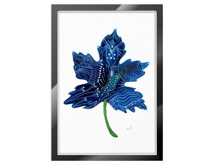 Watercolor Leaf,  Wall Art Print, Leaf illustration, Indigo Blue Wall Décor, Gift For Her, Minimalist Wall Art
