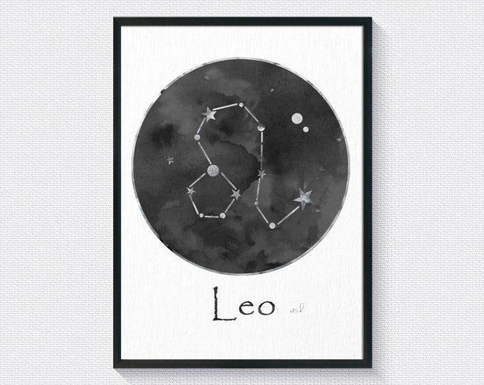 Leo Zodiac, Leo Constellation, Zodiac Constellation,  Wall Art Print, Astronomy Watercolor