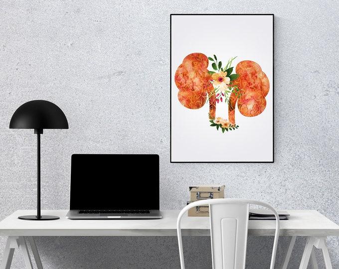Floral Abstract Kidney, Floral Kidney, Watercolor Print, Transplant Art, Nephrology Art, Medical Art, Medical Gift, Graduation Gift