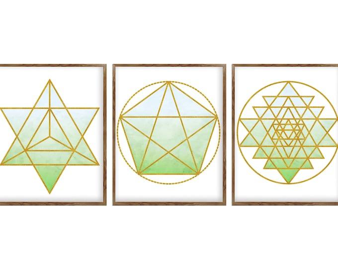 Geometric Wall Art, Meditation Art, Wall Art Prints, Sacred Geometry, Mandala Print, Set of 3