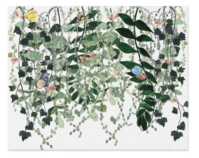 Leaves Watercolor Painting, Large Living Room Wall Art, Extra Large Wall Art, Green Leaves Print, Large Canvas Art, Modern Poster Leaves