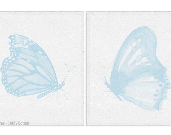 Baby Blue Butterfly, Set Of 2, Butterfly Baby Print, Girl Nursery Art, Butterfly Nursery Décor, Wall Art Canvas