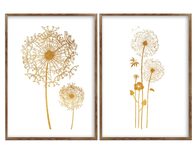 Dandelion Print, Set Of 2 Prints, Wall Art, Dandelion Poster, Minimalist Print, Bedroom Set of 2