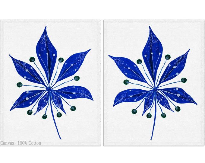 Original Leaves Artwork, Scandinavian Décor, Leaves Art Print, Canvas Set of 2, Leaf Print Set, Office Décor, Bedroom Wall Décor Living Room