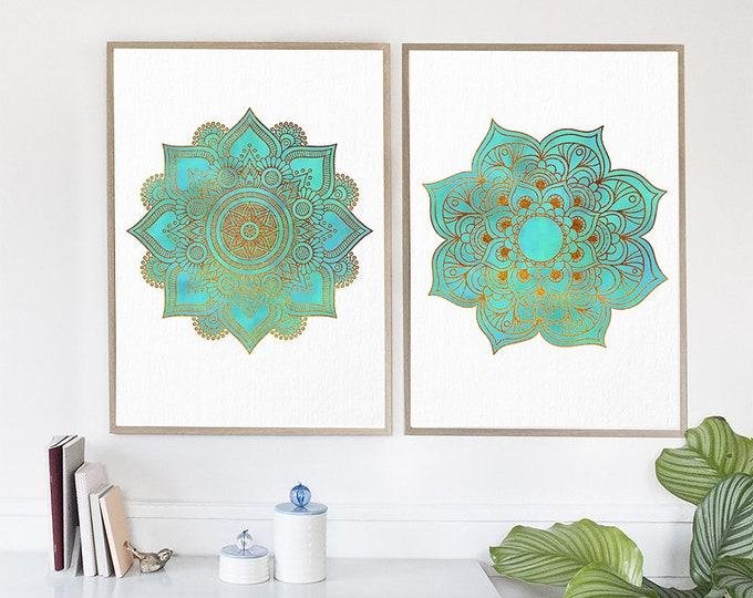 Mandala Art Print, Set Of 2 Wall Art Prints, Golden Mandala, Teal Art Print, Mandala Artwork, Yoga Canvas Art, Turquoise Home Decor