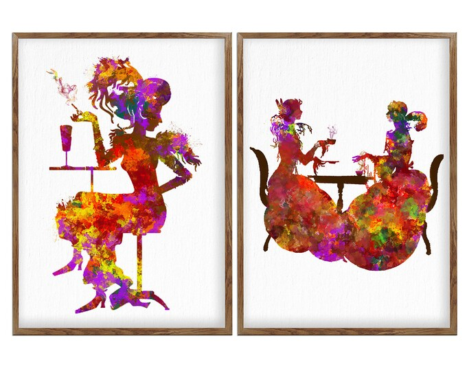 Woman Illustration, Set Of 2 Prints, Art Nouveau Lady, Art Print, Minimalist Art, Wall Art, Gift For Her